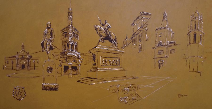Monuments importants celebres de Reus catalogne espagne europe art. dessin Huile sur toile par Joan Mañé