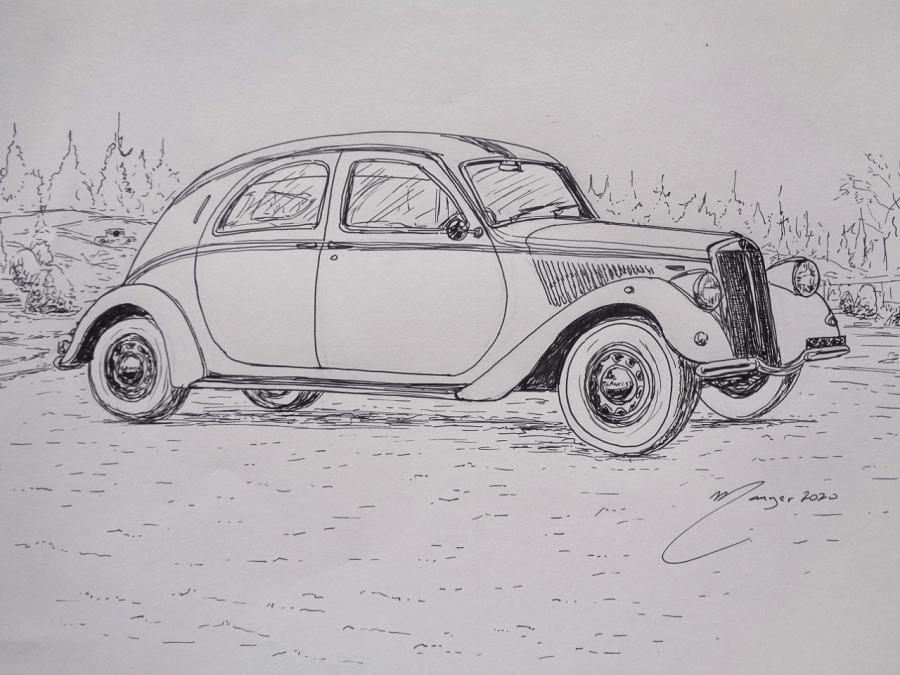 Lancia Aprilia 1937 года. Рисунок чернилами Жоана Манье