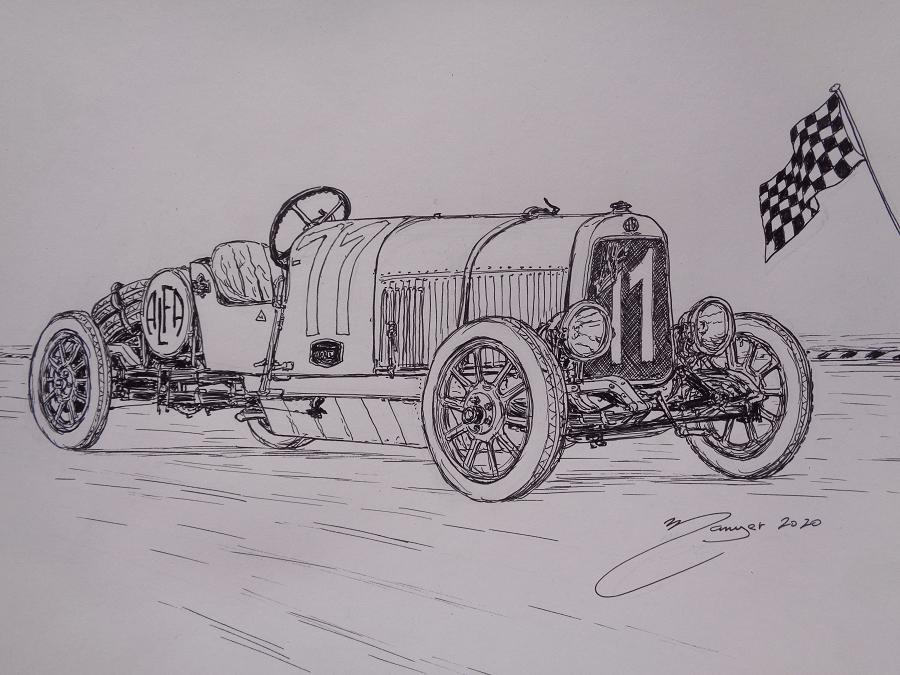 Alfa Romeo G1 (1921). Рисунок чернилами Жоана Манье
