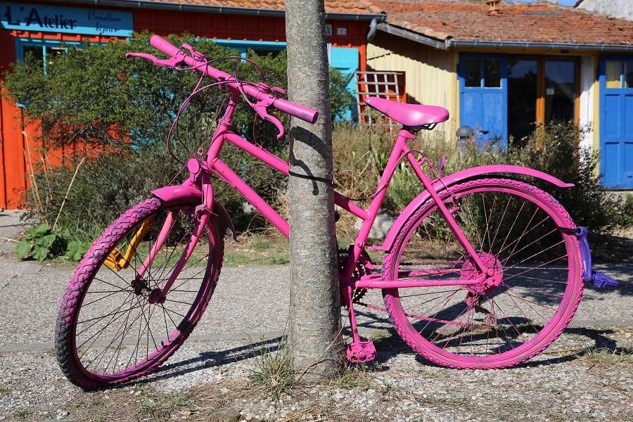 Tour de France 10 (2020). Bicycles installations. violet