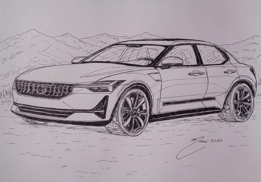 Volvo V40 de 2020. Dessin au marqueur par Joan Mañé_vue de devant_art