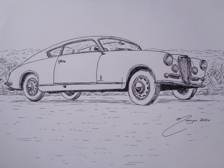 Lancia Aurelia B20 GT de 1951. Dessin au marqueur par Joan Mañé_les aventures de tintin_colorier