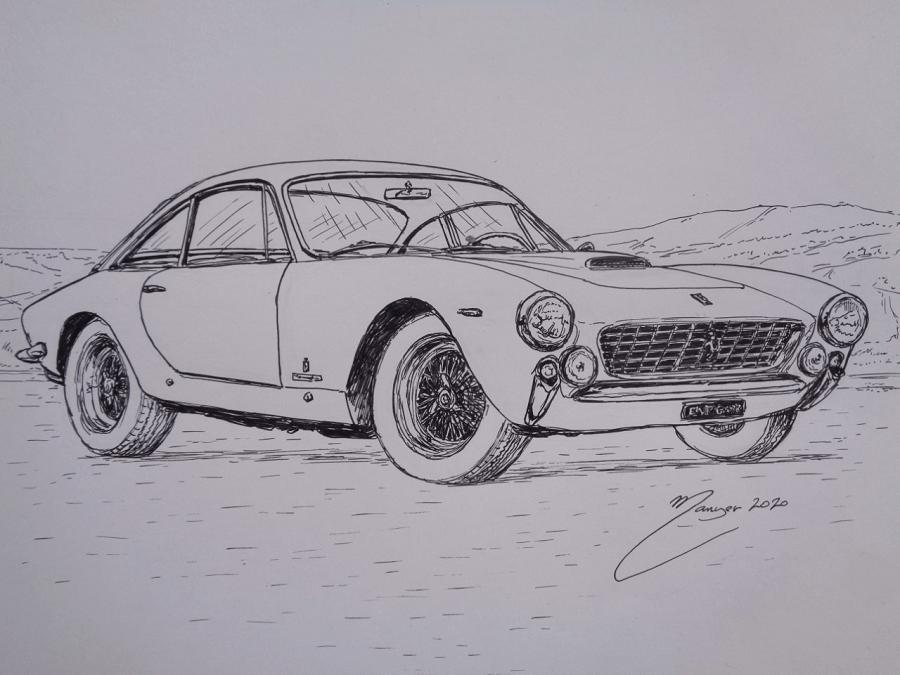 Ferrari 250 GT Berlinetta Lusso de 1962. Dessin au marqueur par Joan Mañé_vue de devant_colorier
