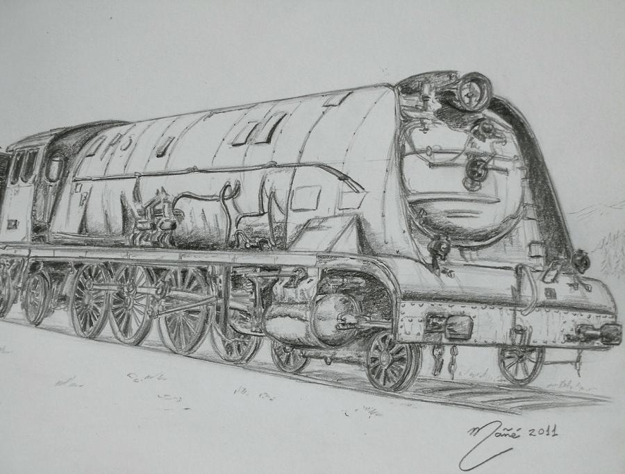 Locomotive à vapeur des années 30-50. Dessin au crayon par Joan Mañé