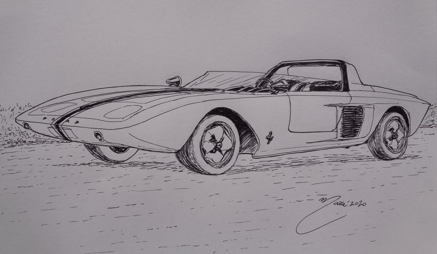 Ford Mustang I Concept 1962 года. Рисунок чернилами Жоана Манье