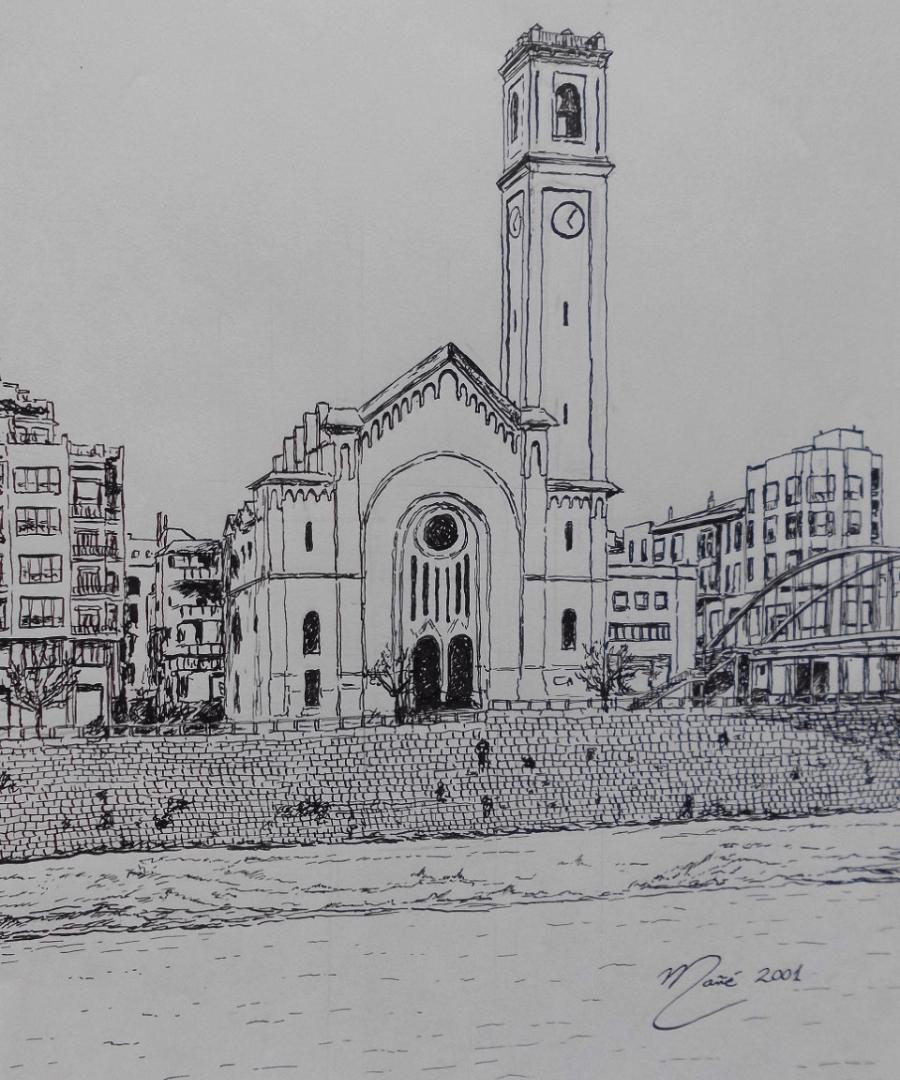 Église du Roser à Tortosa. Dessin à la plume par Joan Mañé