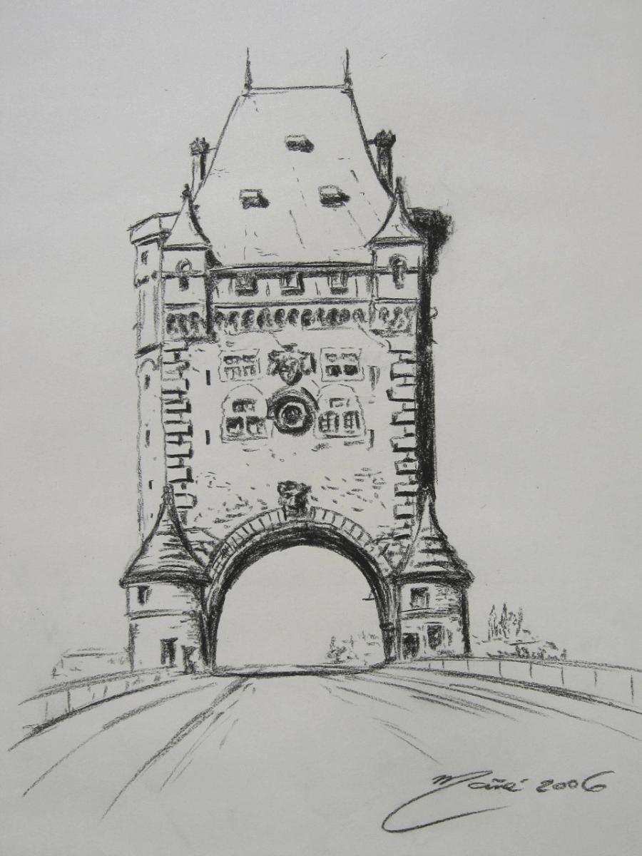 Pont des Nibelungen Bridge. Dessin au crayon par Joan Mañé