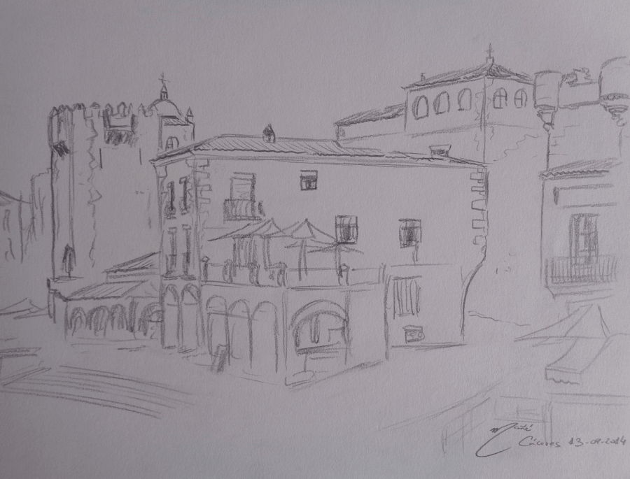 Деревня Ка́серес в Испании. Рисунок карандашом Жоана Манье