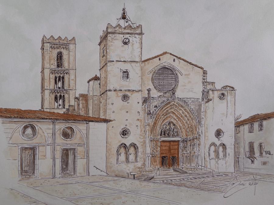 Basilique Santa Maria de Castelló d'Empúries. Dessin à l'encre et à l'aquarelle par Joan Mañé_images_photos