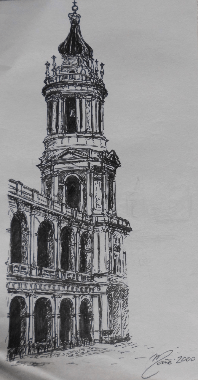 Sainte Maison de Lorette (Santuario della Santa Casa di Loreto). Dessin a la plume par Joan Mañé
