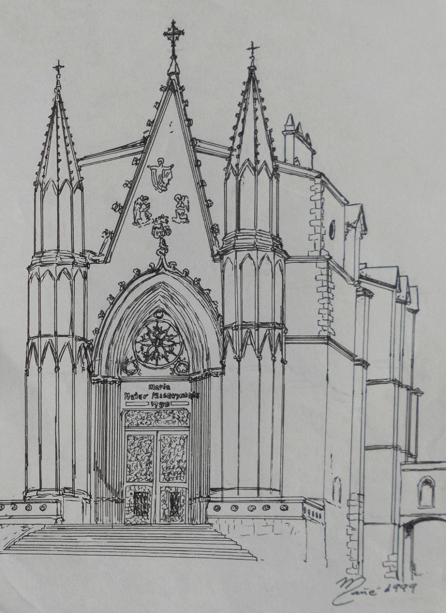 Sanctuaire de la Mare de Déu de la Misericòrdia à Canet de Mar (Catalogne). Dessin de Joan Mañé