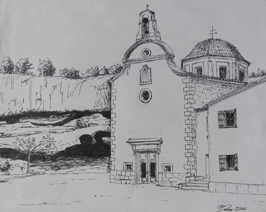Святыня Mare de Déu de Remei в городе Флиш. Рисунок фломастерами Жоана Манье