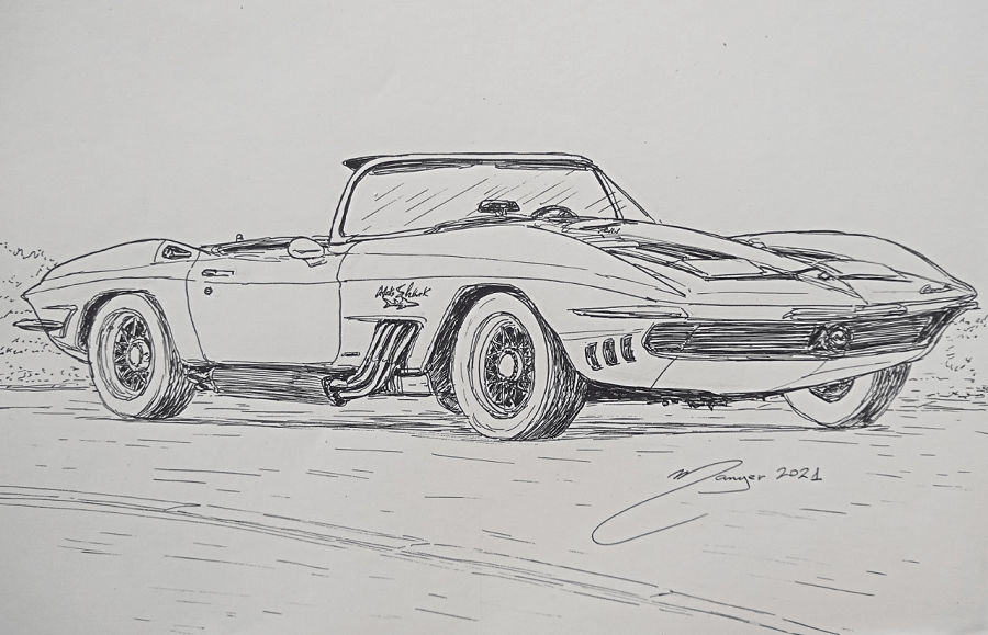 Chevrolet Corvette Mako Shark de 1961. Dessin au marqueur par Joan Mañé_requin_luxe_retro_essence_americains