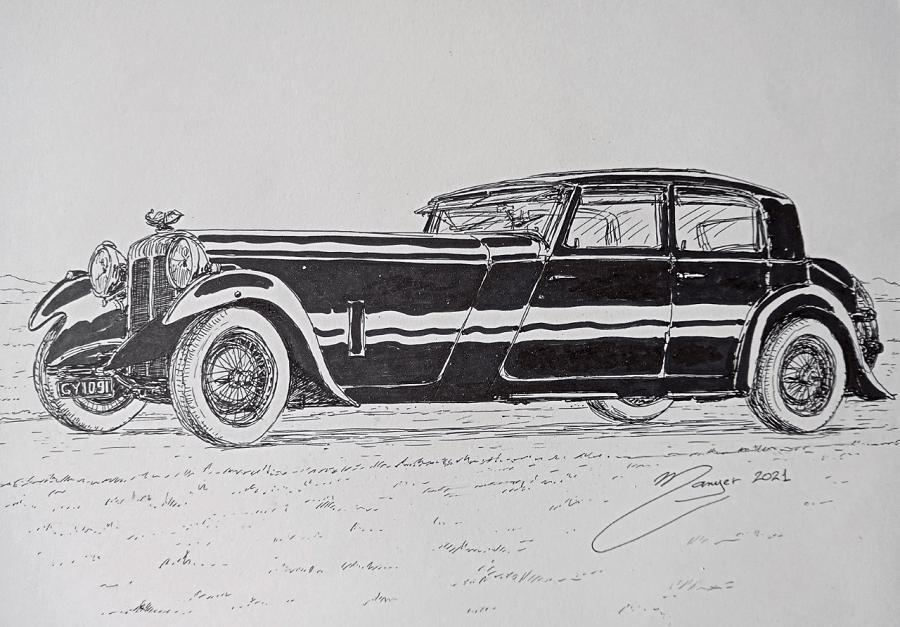 Daimler Martin Walter Sports de 1932. Dessin par étapes par Joan Mañé_dessin_par etapes_coloriage