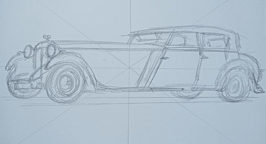 Daimler Martin Walter Sports de 1932. Dessin par étapes par Joan Mañé_premiere etape : dessin au crayon
