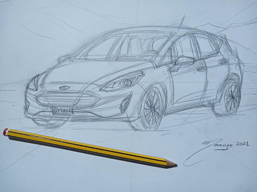 Deuxième étape : dessin au crayon avec plus de détails_Ford Fiesta de 2018. Dessin par étapes par Joan Mañé_modele 2016_2018