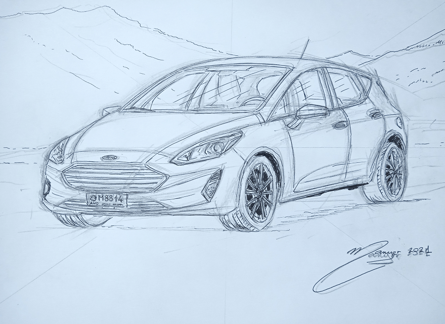 Ford Fiesta de 2018. Dessin par étapes par Joan Mañé_Troisième étape : dessin au feutre sur crayon_nouvelle ford en dessin_coloriages