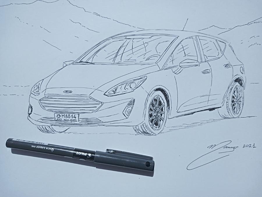 Quatrième étape : dessin au feutre_Ford Fiesta de 2018. Dessin par étapes par Joan Mañé_dessins compliques_coloriages magiques